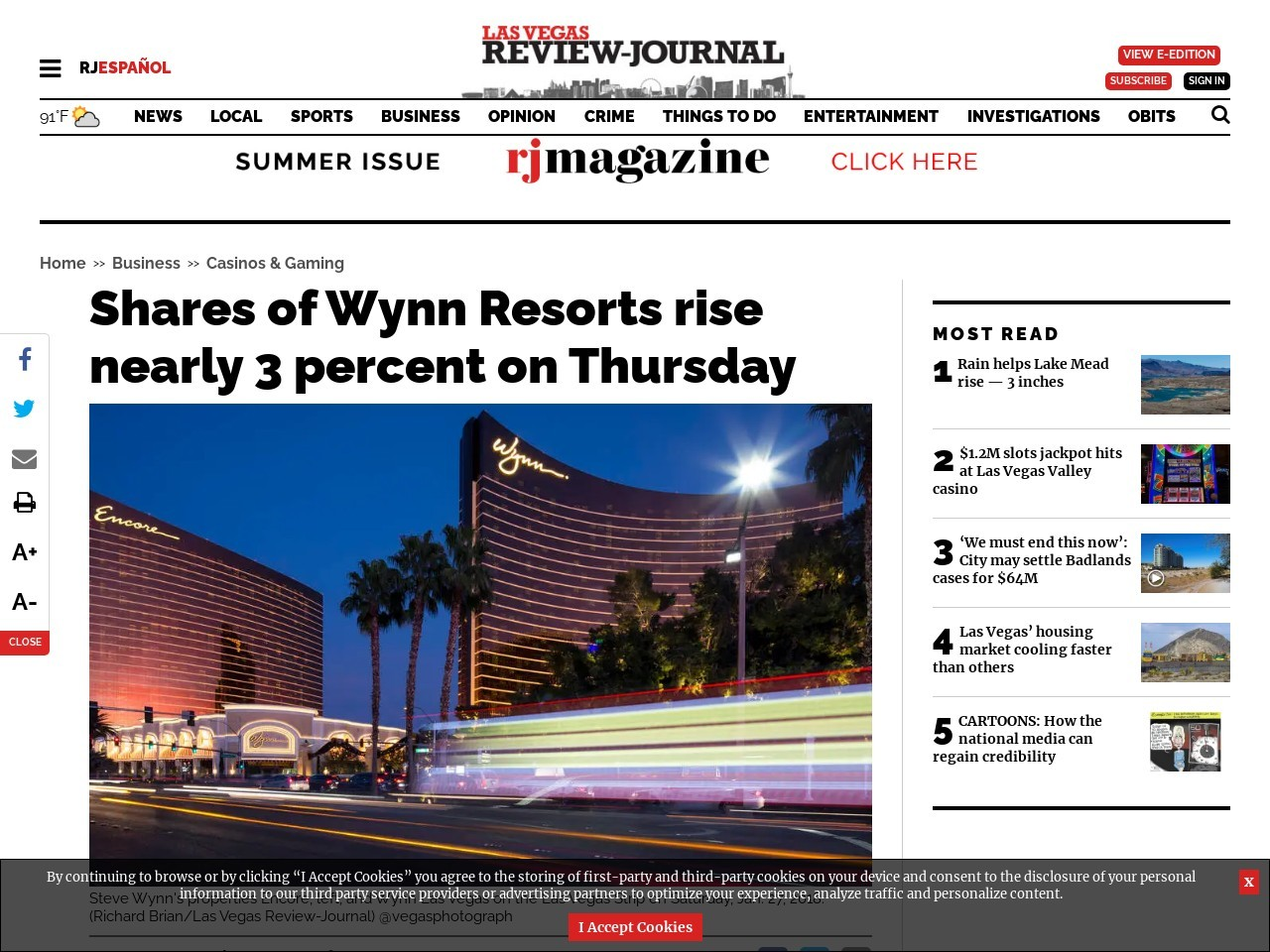 Shares of Wynn Resorts rise nearly 3 percent on Thursday