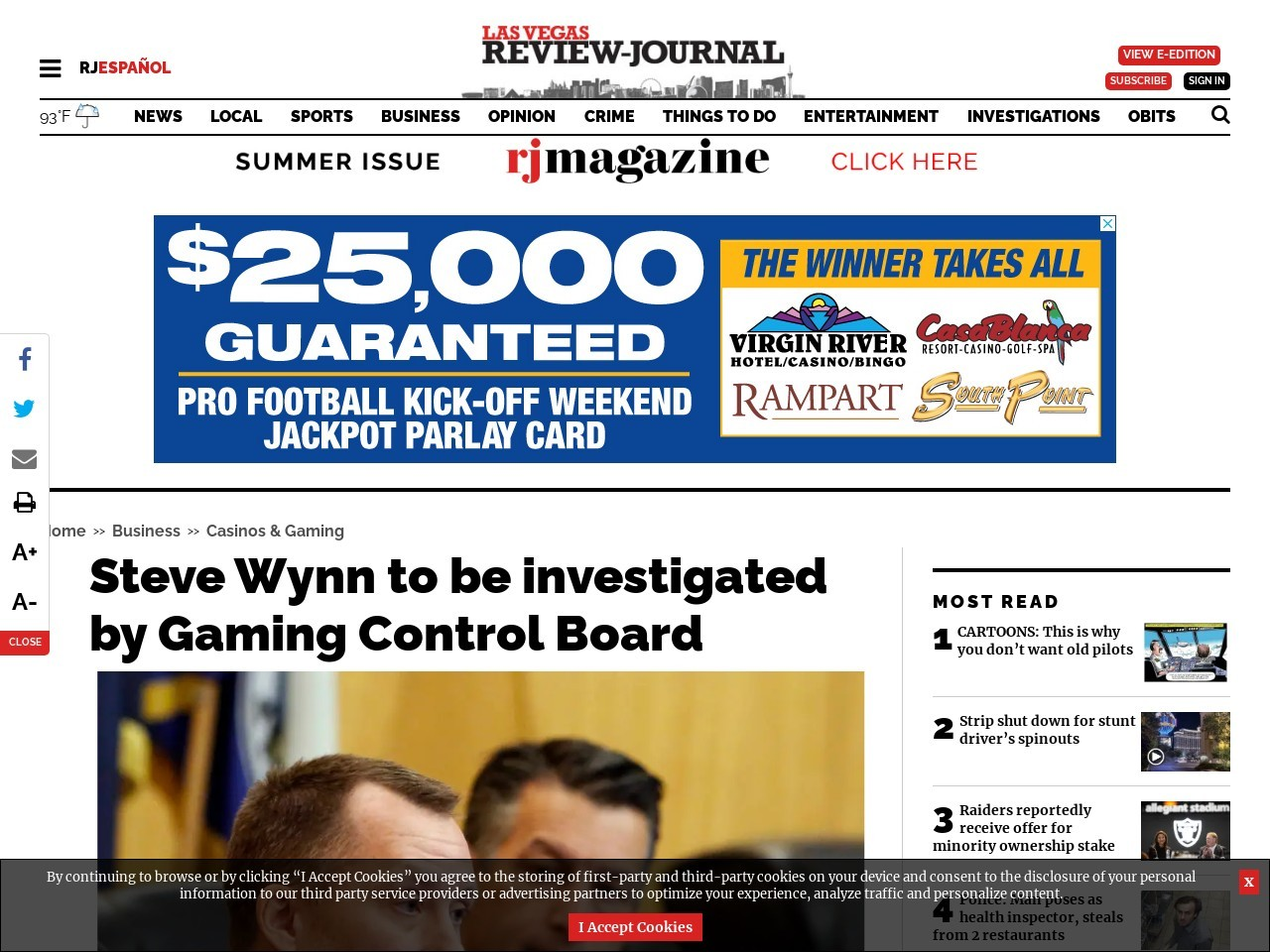 Steve Wynn to be investigated by Gaming Control Board