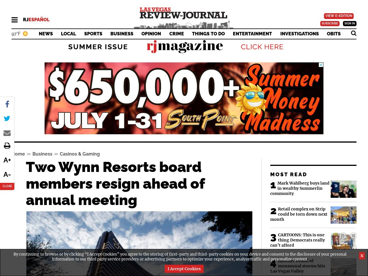 Two Wynn Resorts board members resign ahead of annual meeting