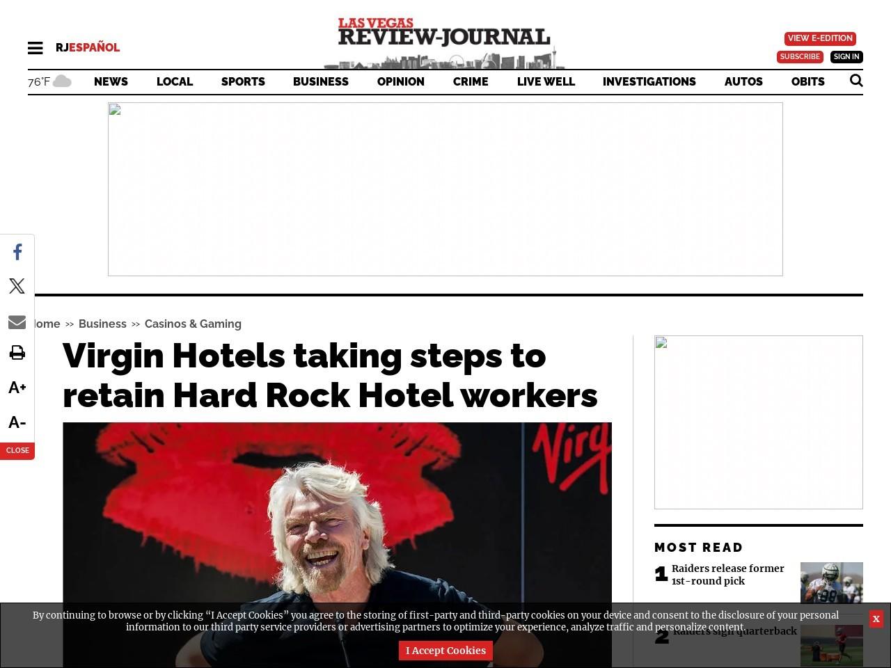 Virgin Hotels taking steps to retain Hard Rock Hotel workers