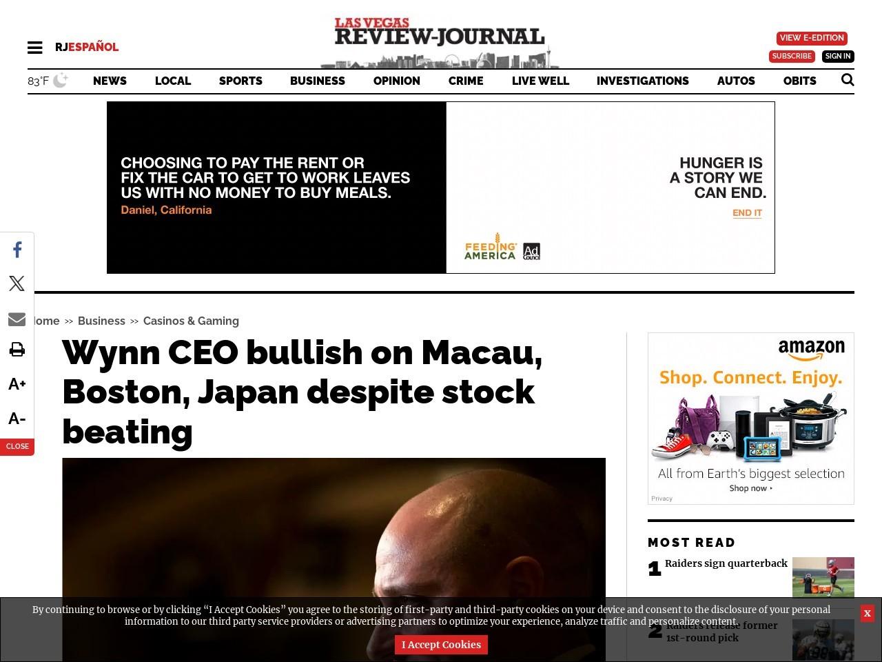 Wynn CEO bullish on Macau, Boston, Japan despite stock beating