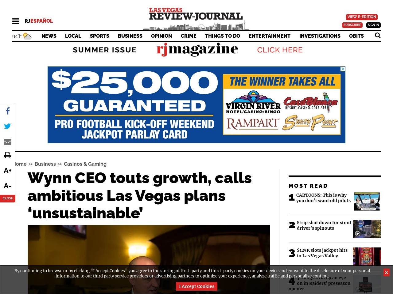 Wynn CEO touts growth, calls ambitious Las Vegas plans 'unsustainable'