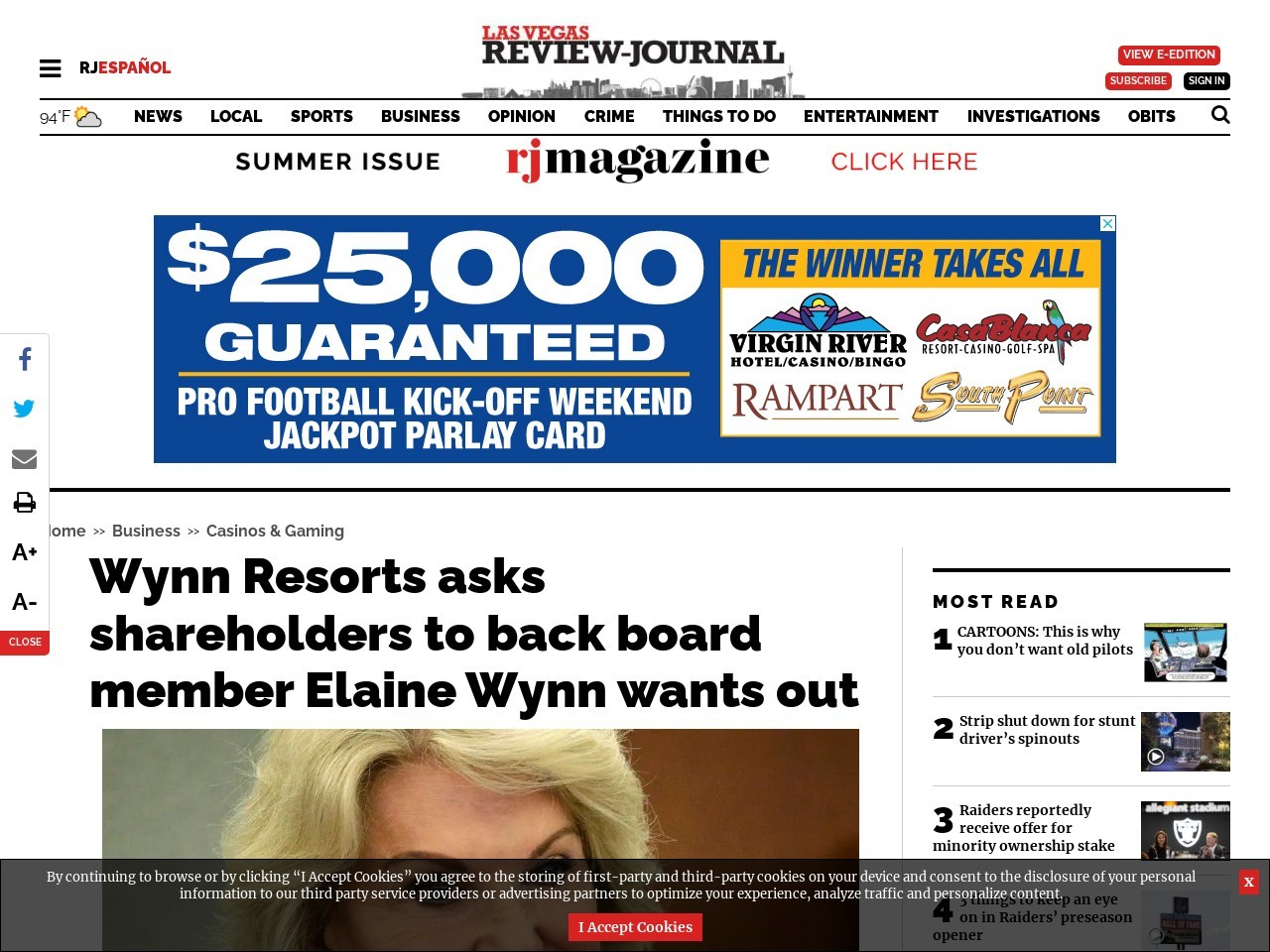 Wynn Resorts asks shareholders to back board member Elaine Wynn wants out