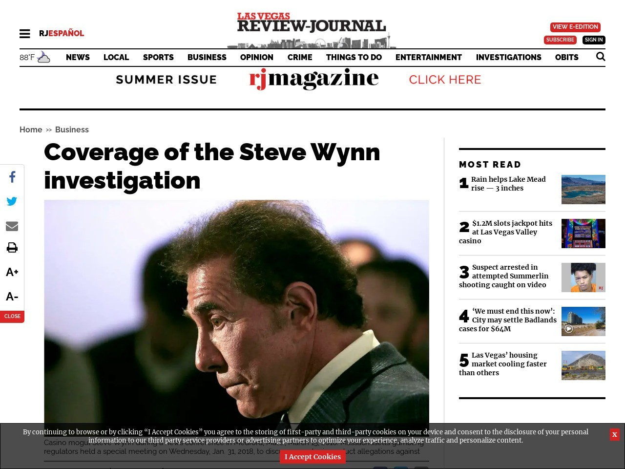 Coverage of the Steve Wynn investigation