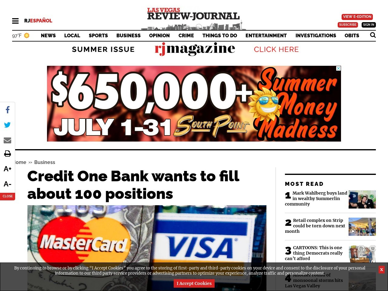 Credit One Bank wants to fill about 100 positions