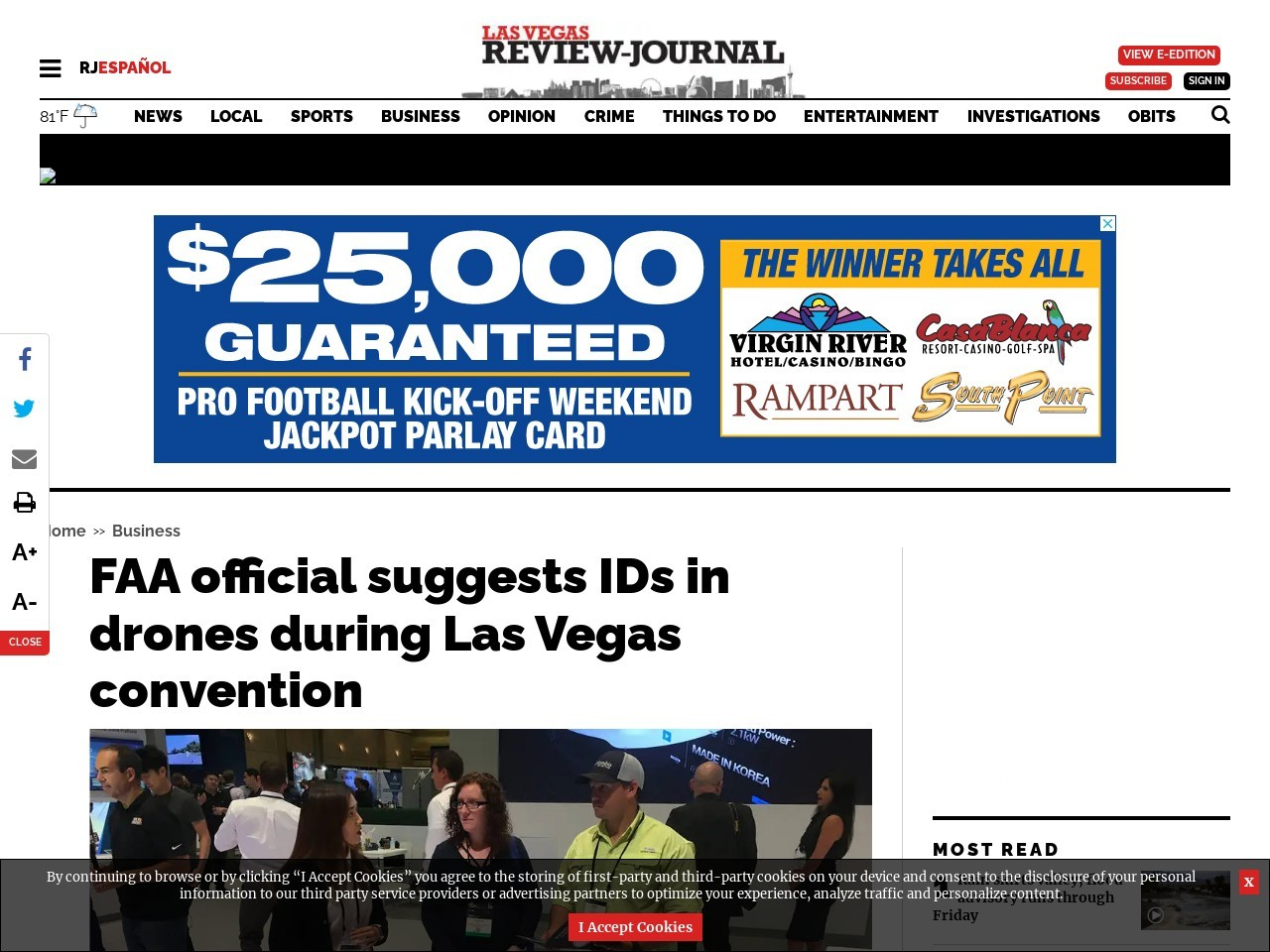 FAA official suggests IDs in drones during Las Vegas convention