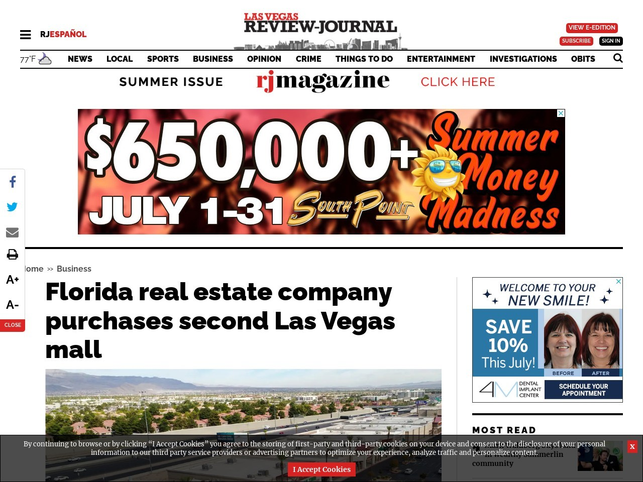 Florida real estate company purchases second Las Vegas mall