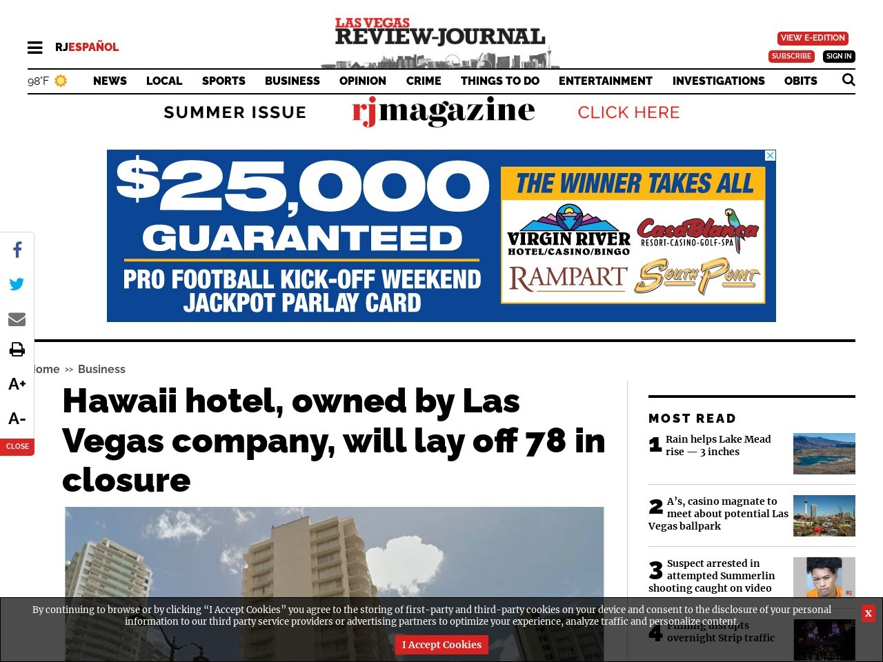 Hawaii hotel, owned by Las Vegas company, will lay off 78 in closure