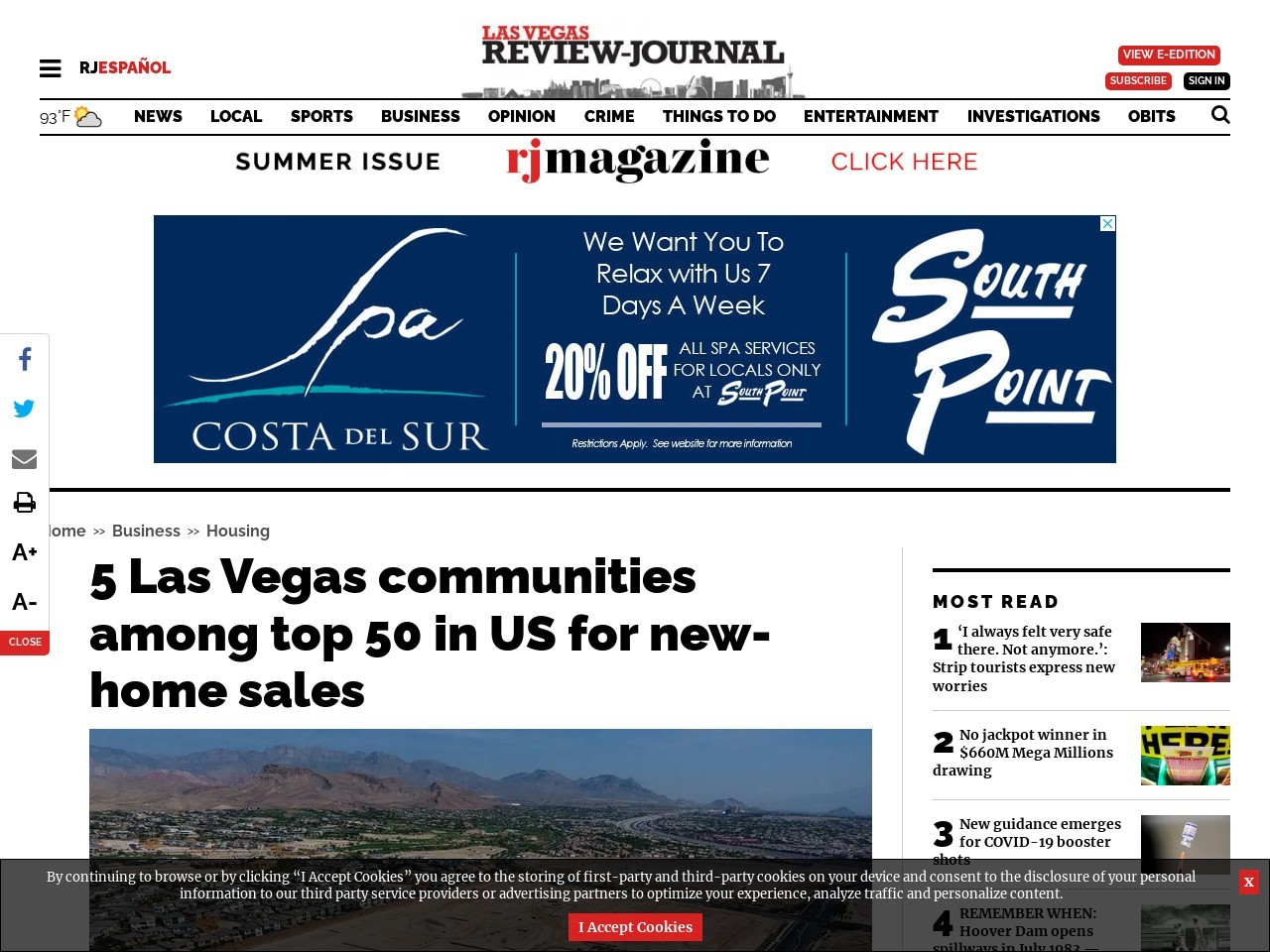 5 Las Vegas communities among top 50 in US for new-home sales