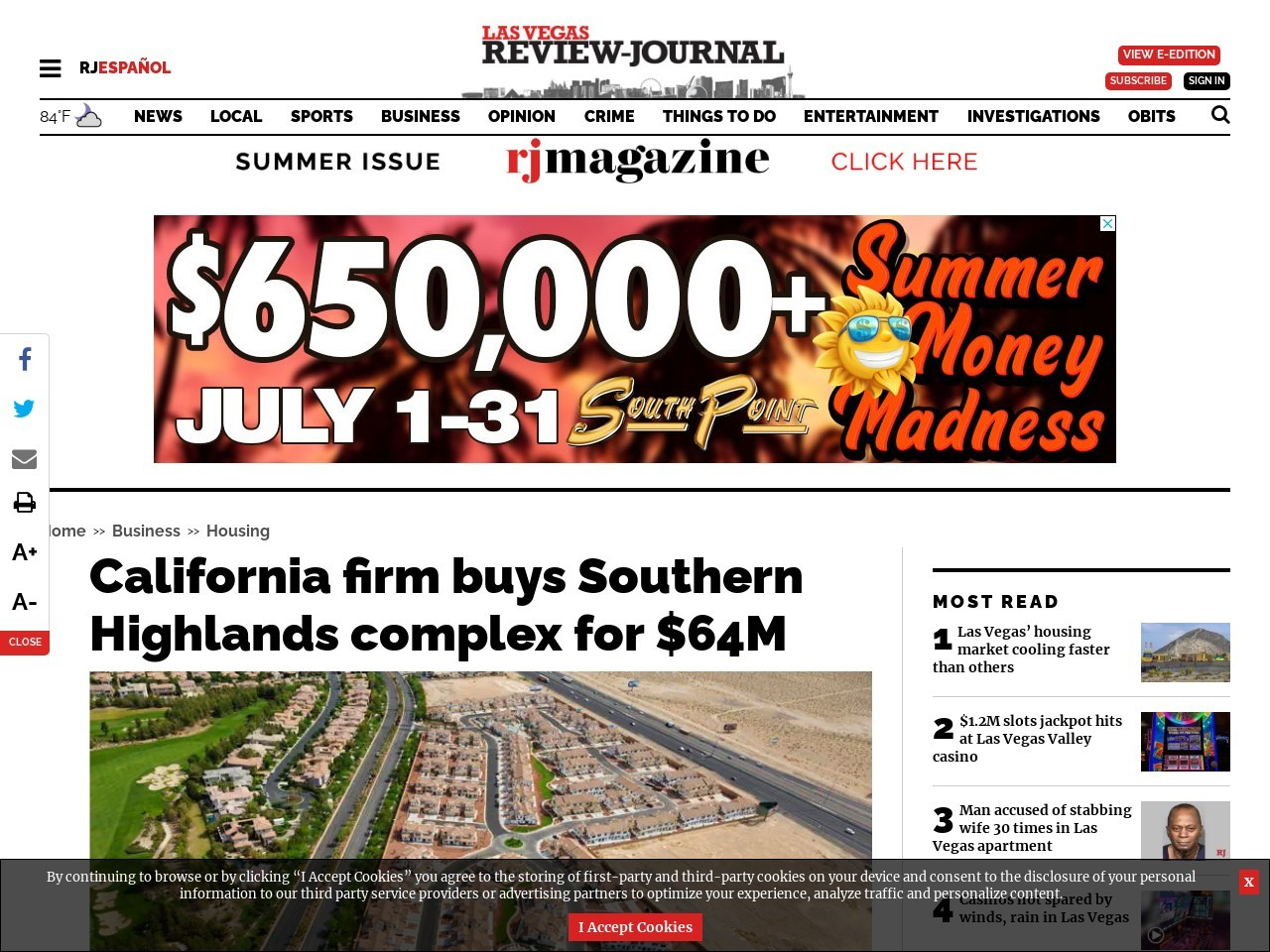 California firm buys a Southern Highlands complex for $64M