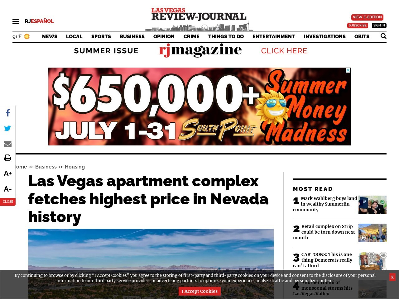 Las Vegas apartment complex fetches highest price in Nevada history