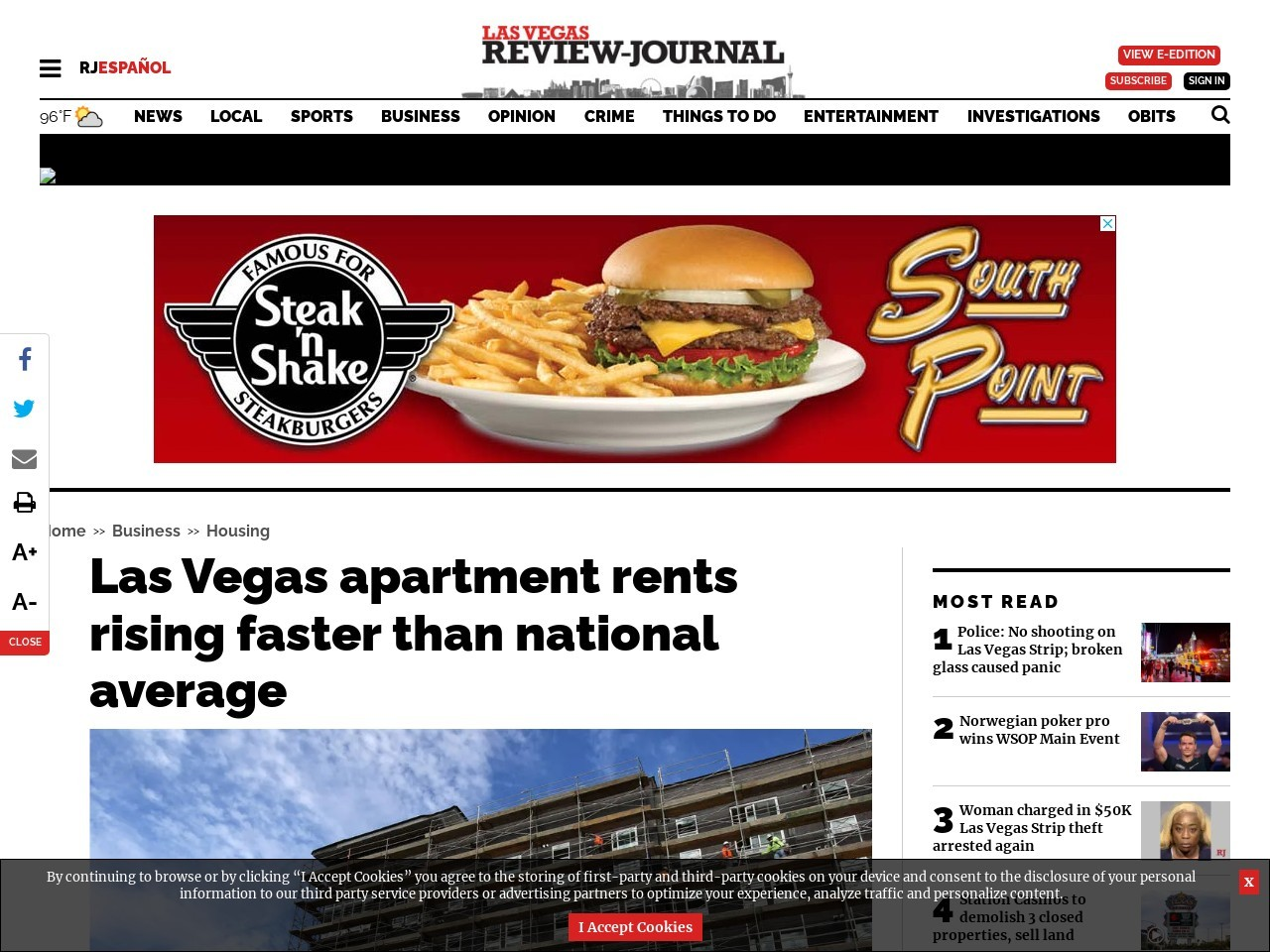 Las Vegas apartment rents rising faster than the national average