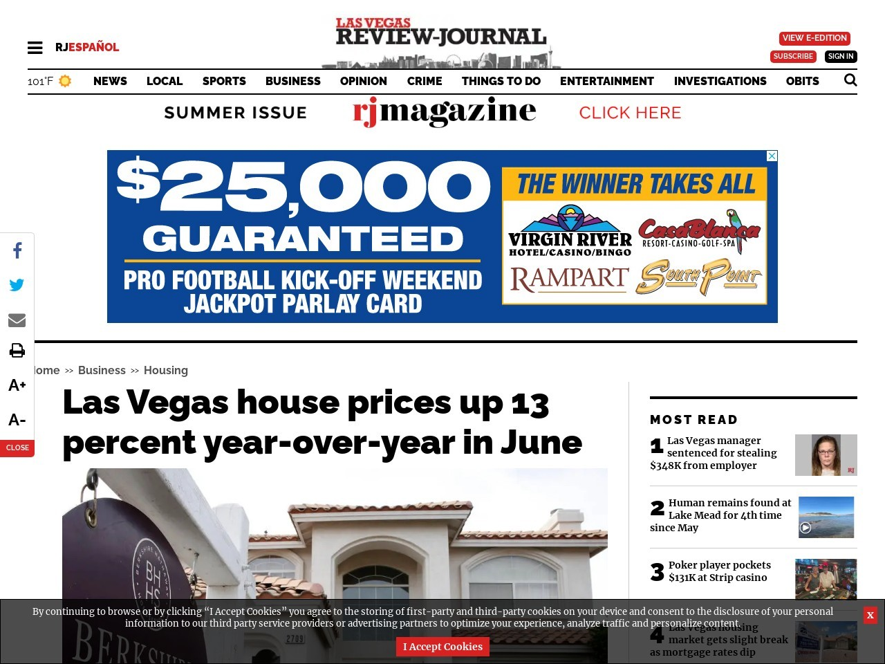Las Vegas house prices up 13 percent year-over-year in June