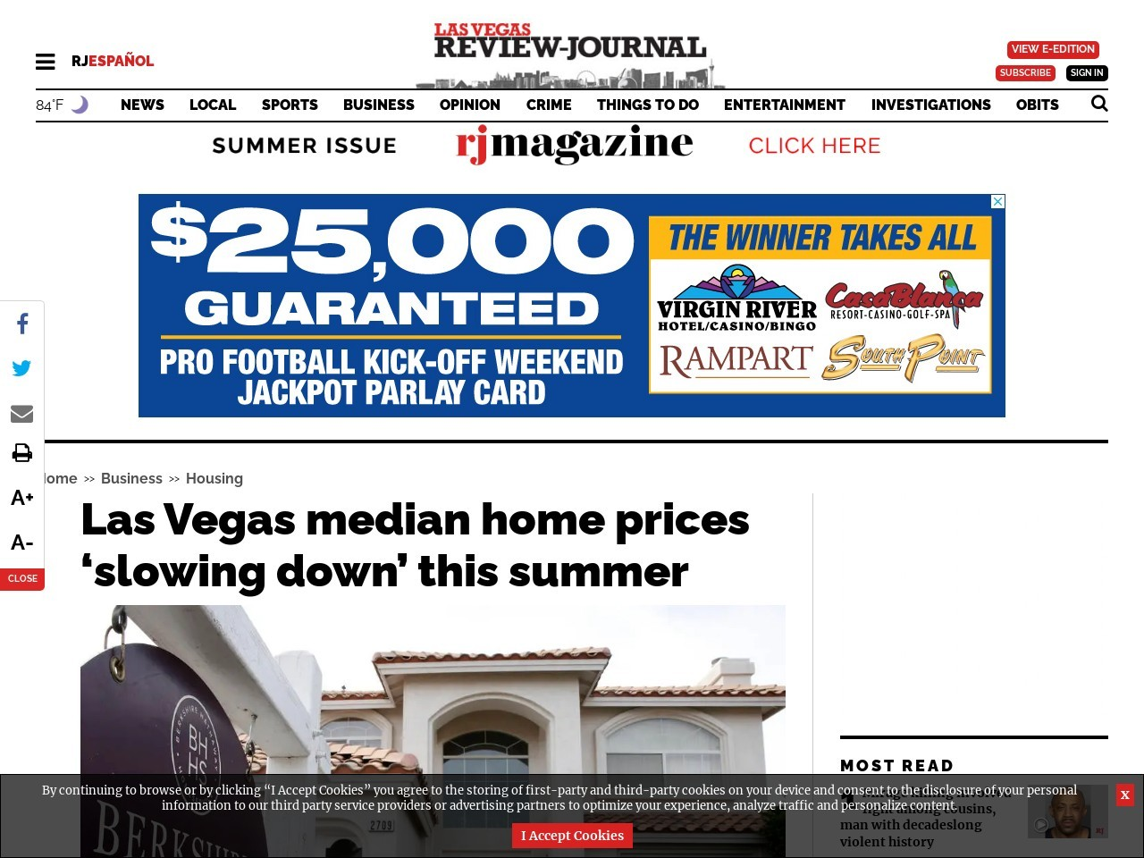 Las Vegas median home prices 'slowing down' this summer
