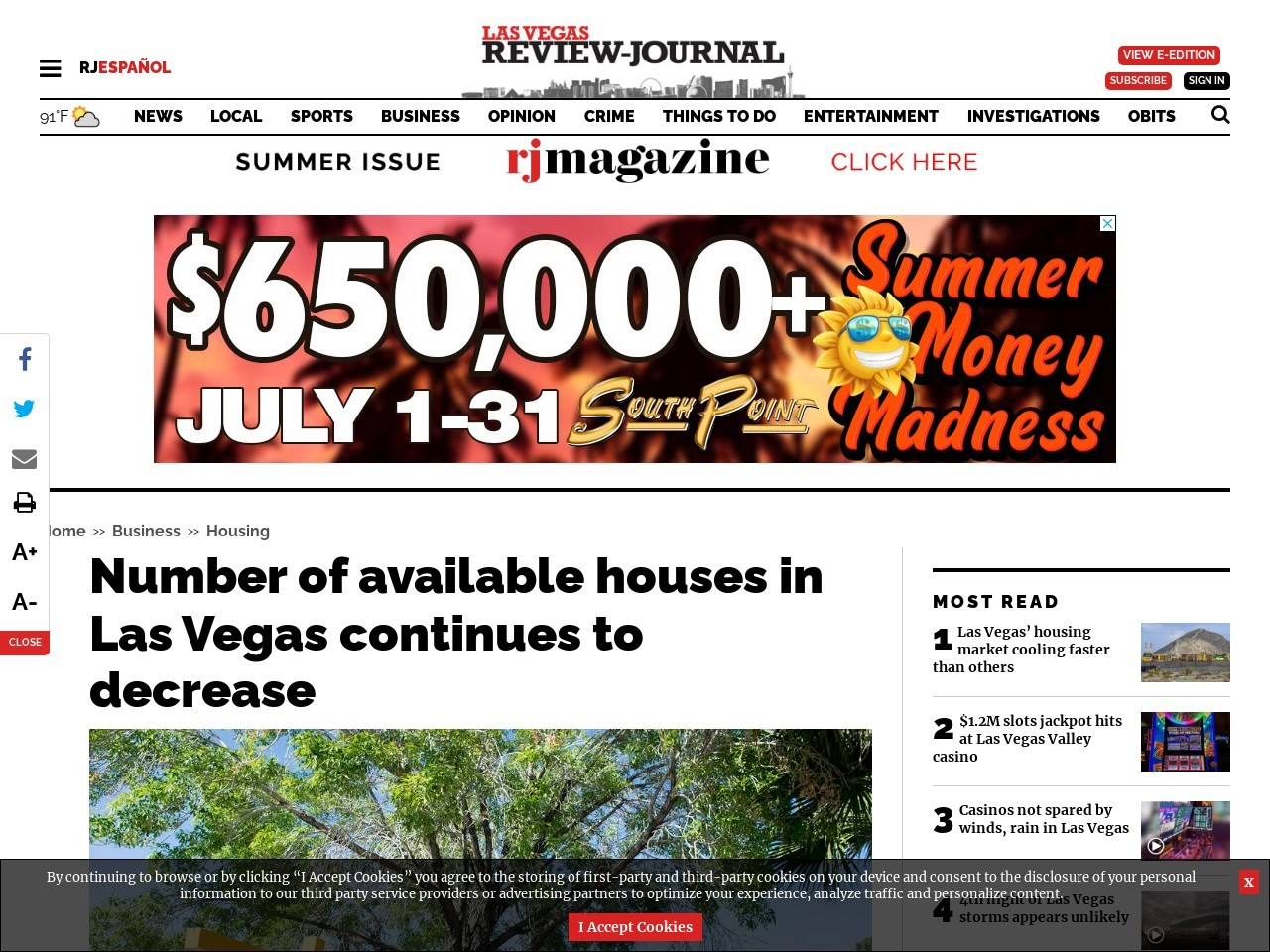 Tally of available houses in Las Vegas continues to tumble