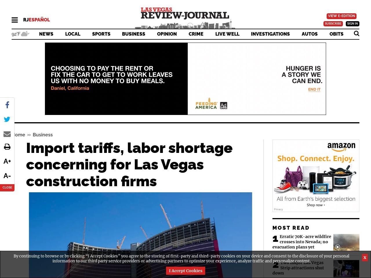 Import tariffs, labor shortage concerning for Las Vegas construction firms