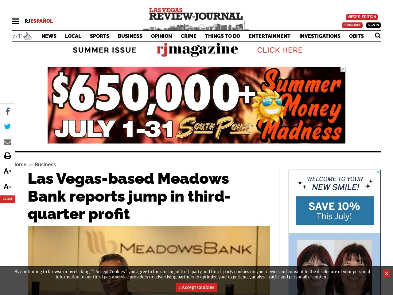 Las Vegas-based Meadows Bank reports jump in third-quarter profit