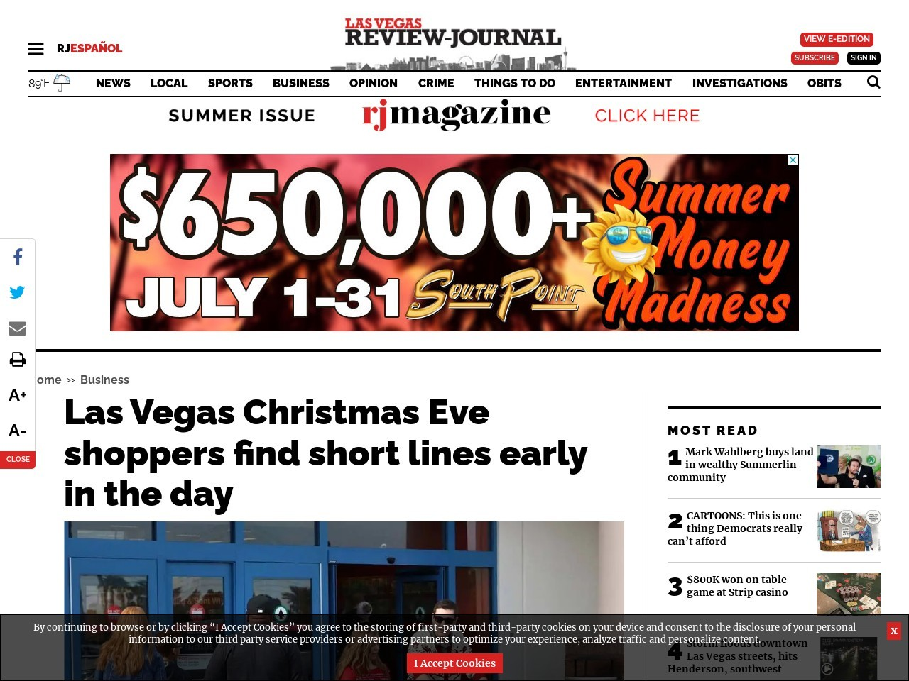 Las Vegas Christmas Eve shoppers find short lines early in the day