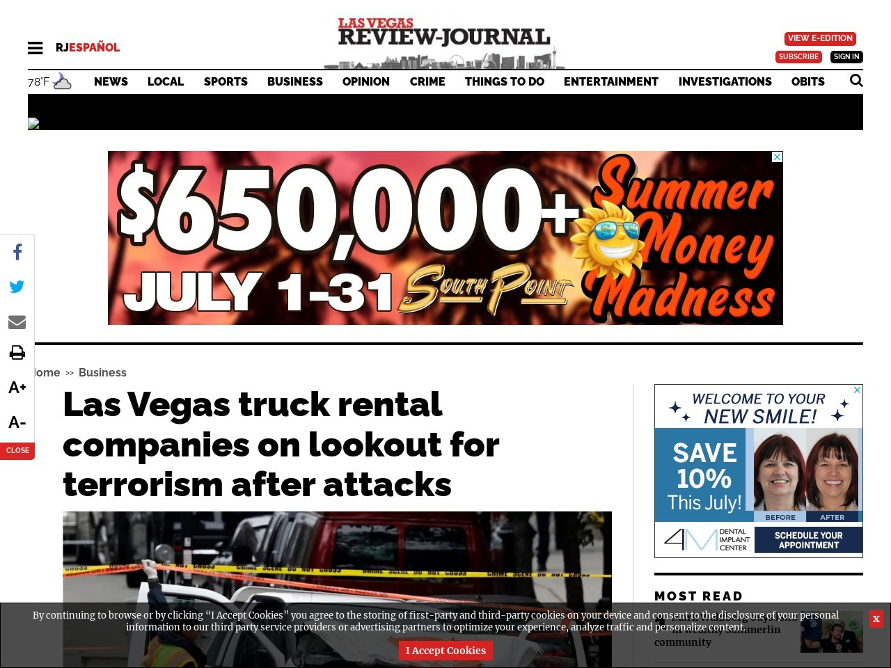 Las Vegas truck rental companies on lookout for terrorism after attacks