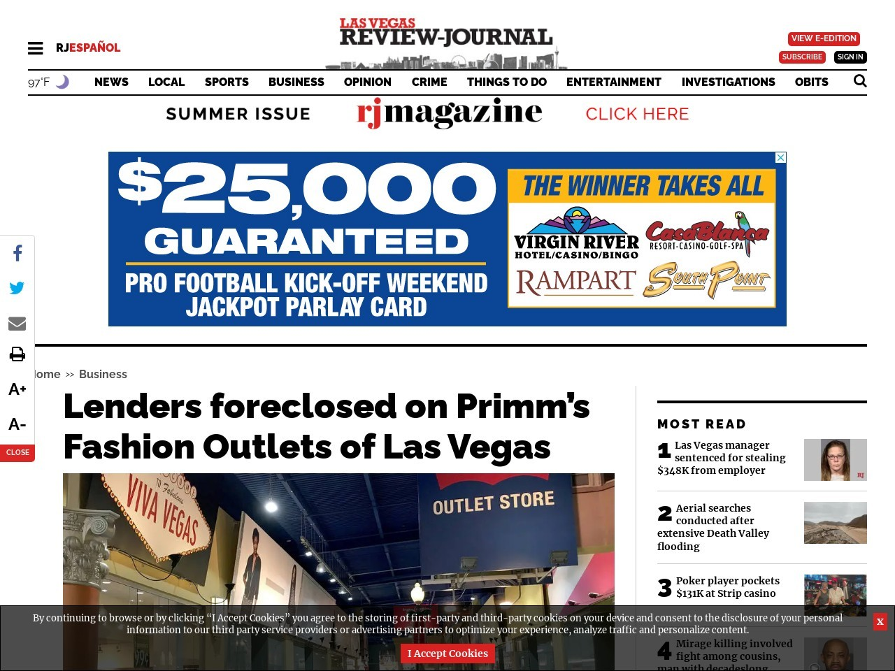 Lenders foreclosed on Primm's Fashion Outlets of Las Vegas
