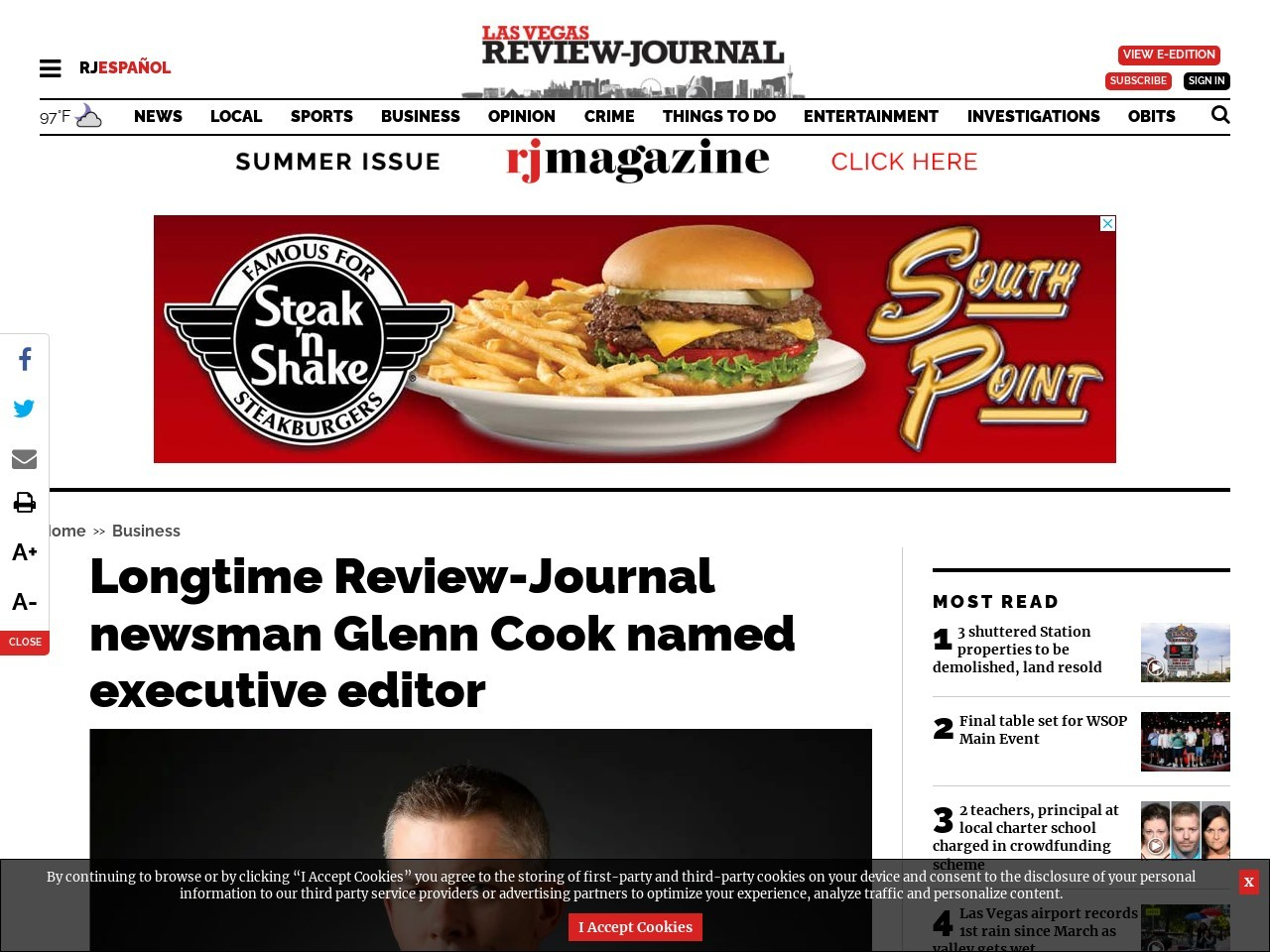 Longtime Review-Journal newsman Glenn Cook named executive editor