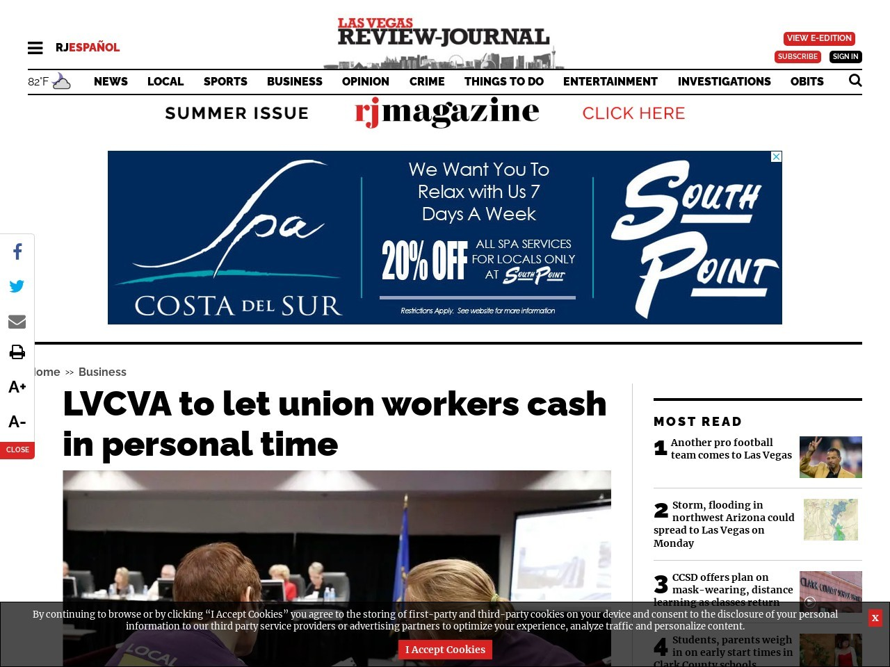 LVCVA to let union workers cash in personal time