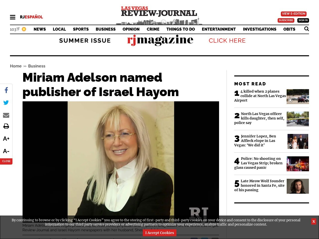 Miriam Adelson named publisher of Israel Hayom