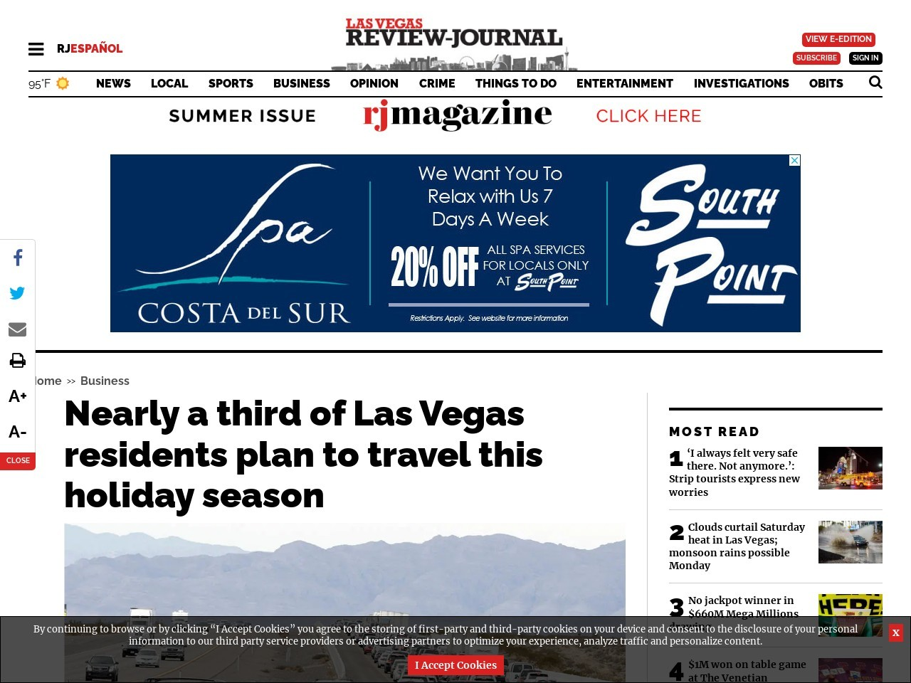 Nearly a third of Las Vegas residents plan to travel this holiday season