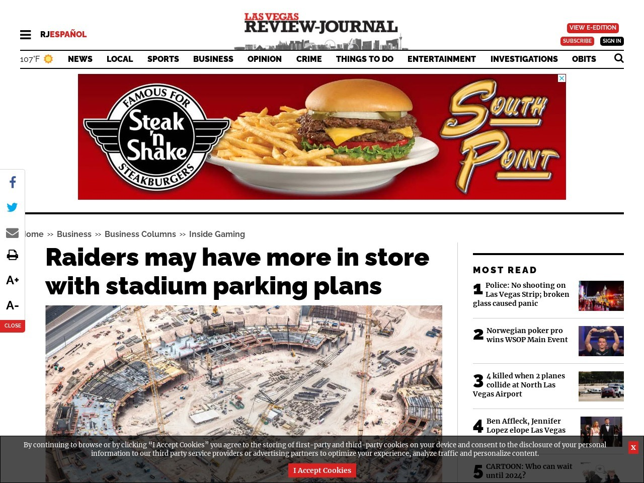 Raiders may have more in store with stadium parking plans