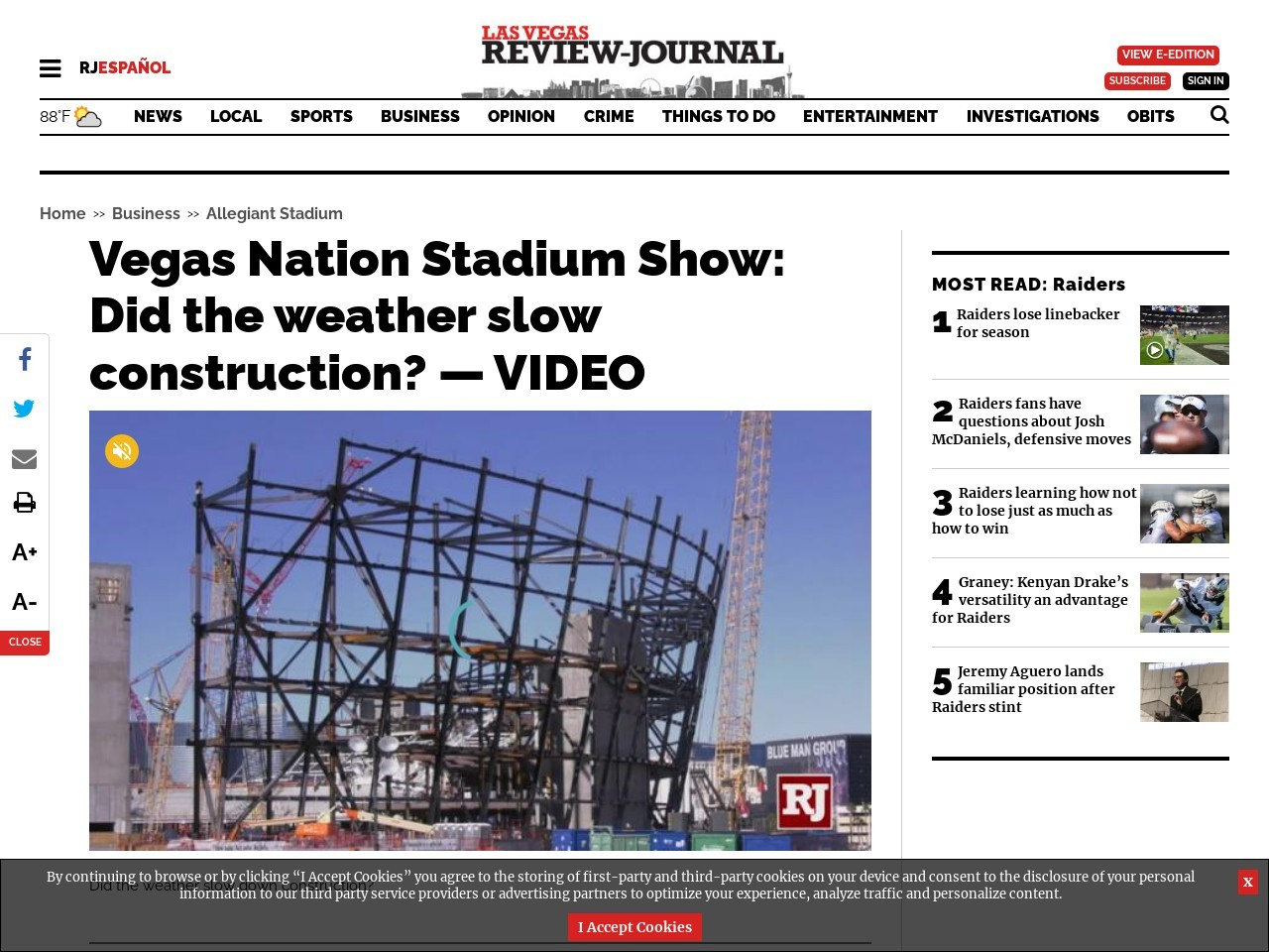 Vegas Nation Stadium Show: Did the weather slow construction? — VIDEO