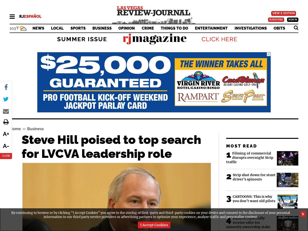Steve Hill poised to top search for LVCVA leadership role