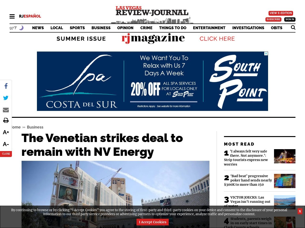 The Venetian strikes deal to remain with NV Energy