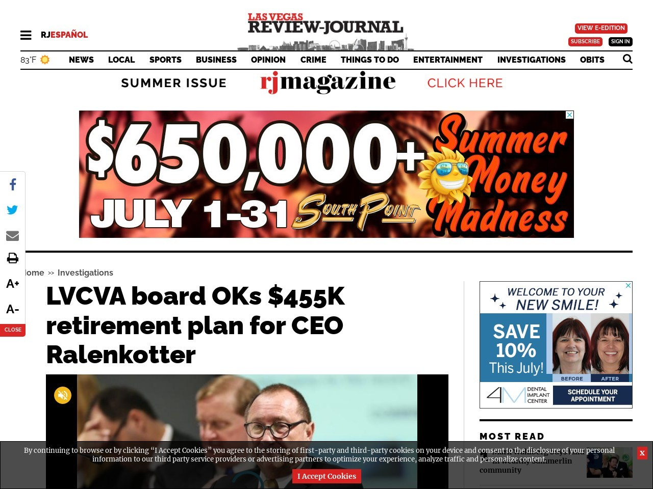 LVCVA board discusses retirement plan for CEO Ralenkotter — LIVESTREAM