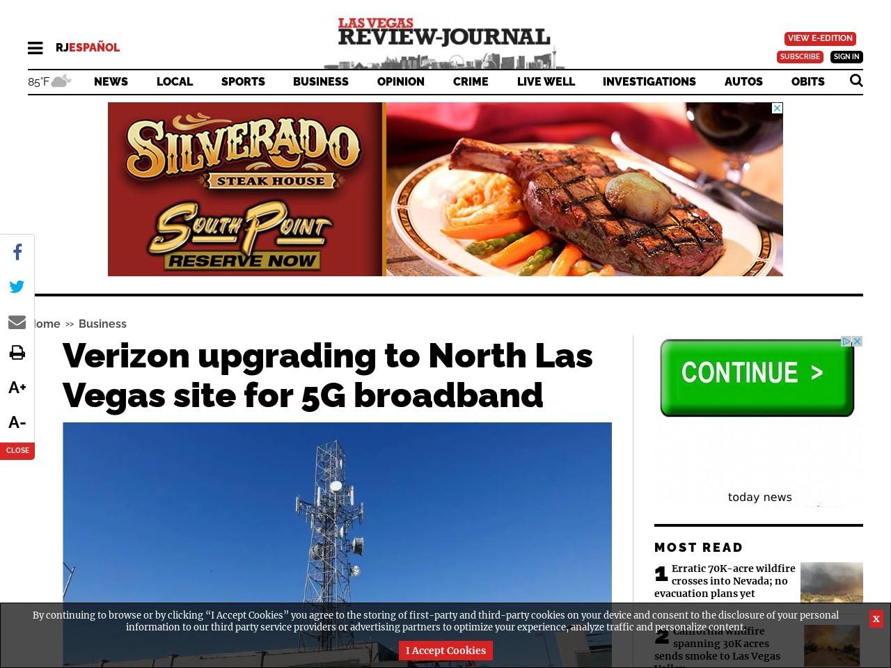 Verizon upgrading to North Las Vegas site for 5G broadband