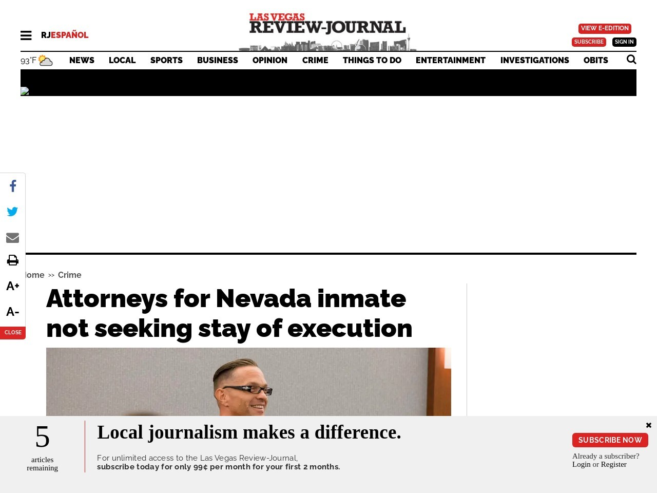 Attorneys for Nevada inmate not seeking stay of execution