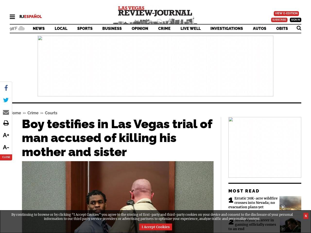 Boy testifies in Las Vegas trial of man accused of killing his mother and sister