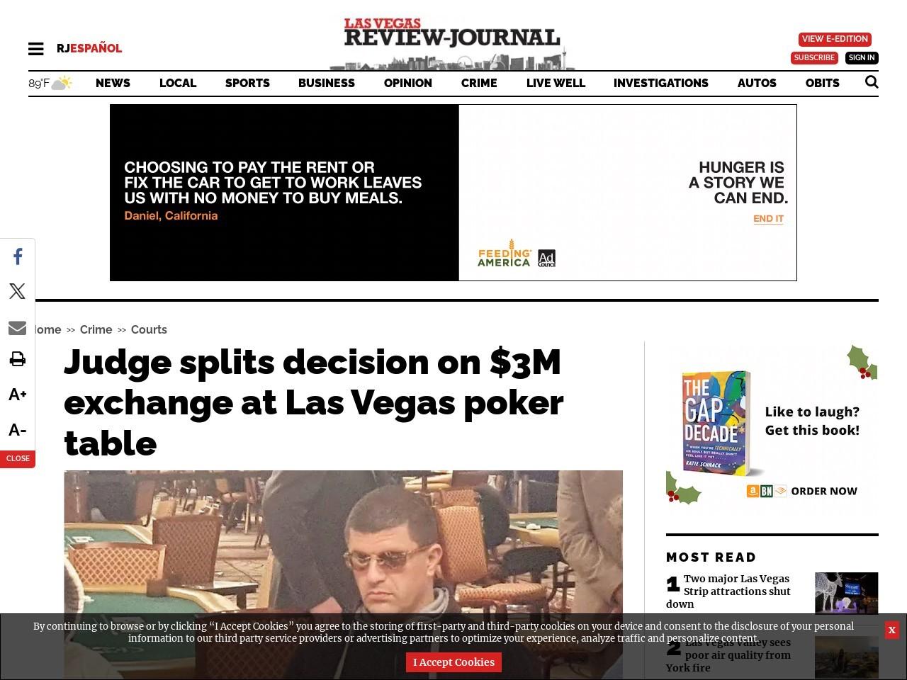 Judge splits decision on $3M exchange at Las Vegas poker table