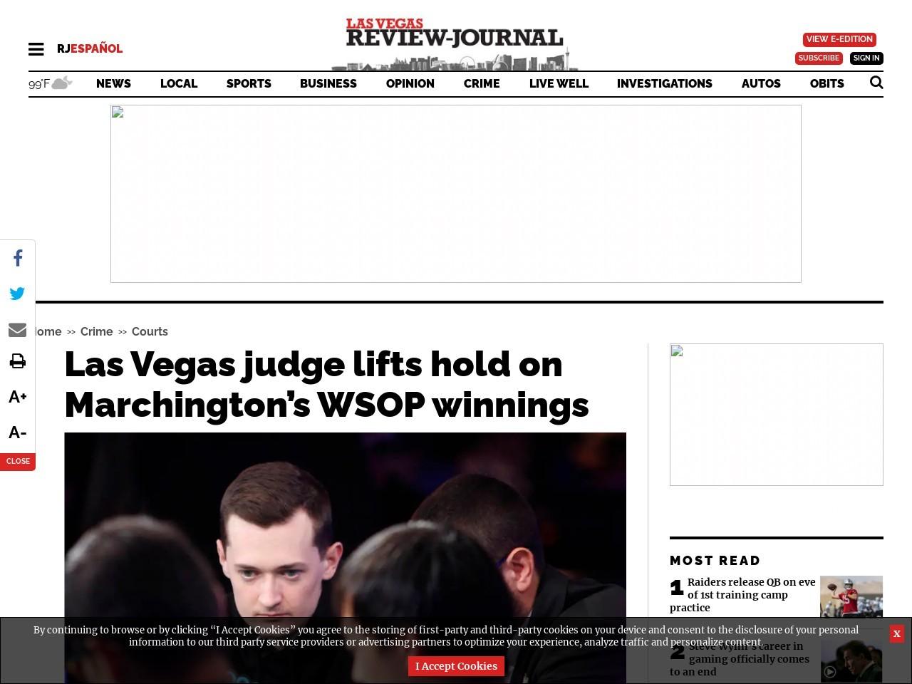Las Vegas judge lifts hold on Marchington's WSOP winnings