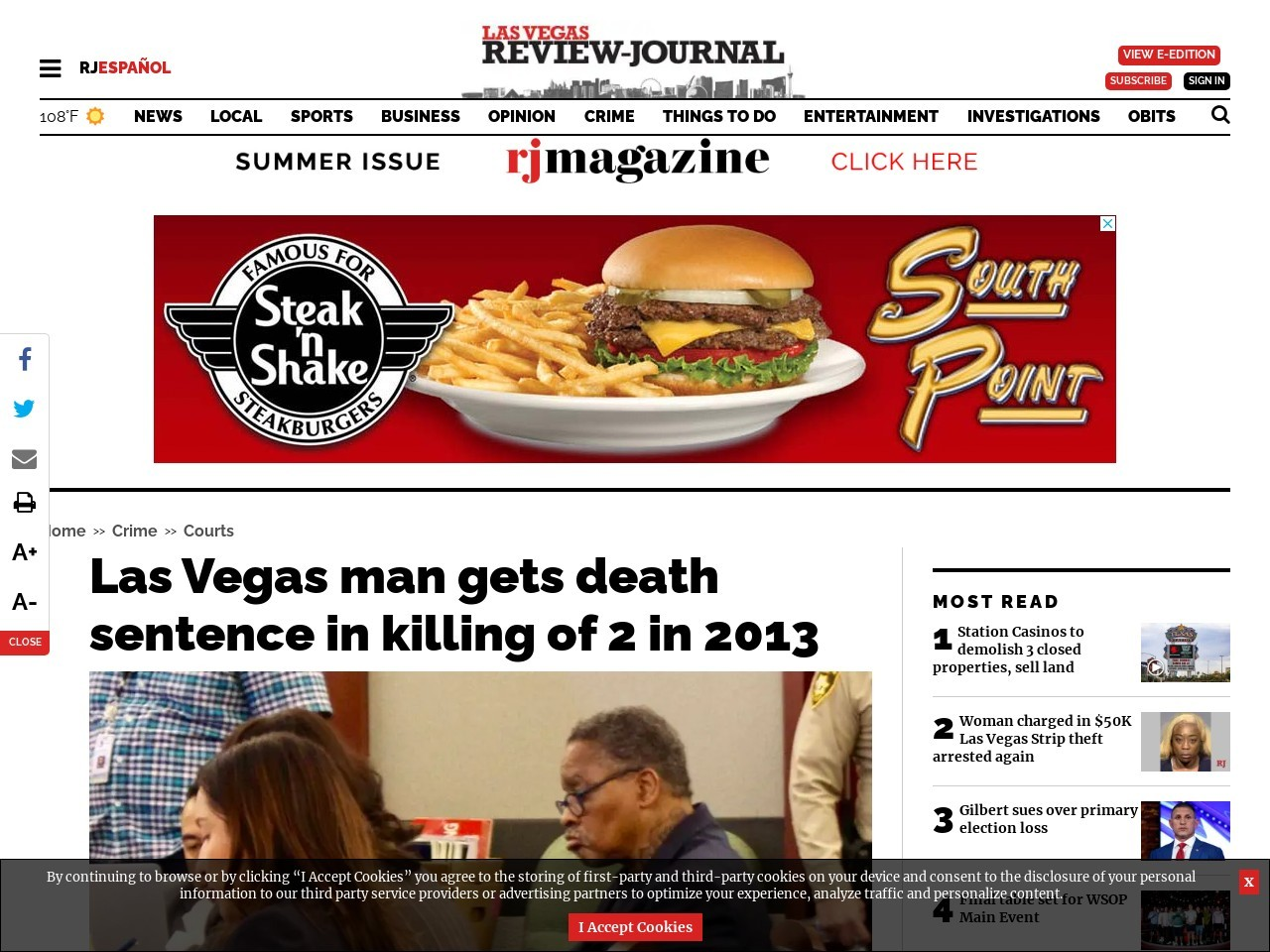 Las Vegas man gets death sentence in killing of 2 in 2013