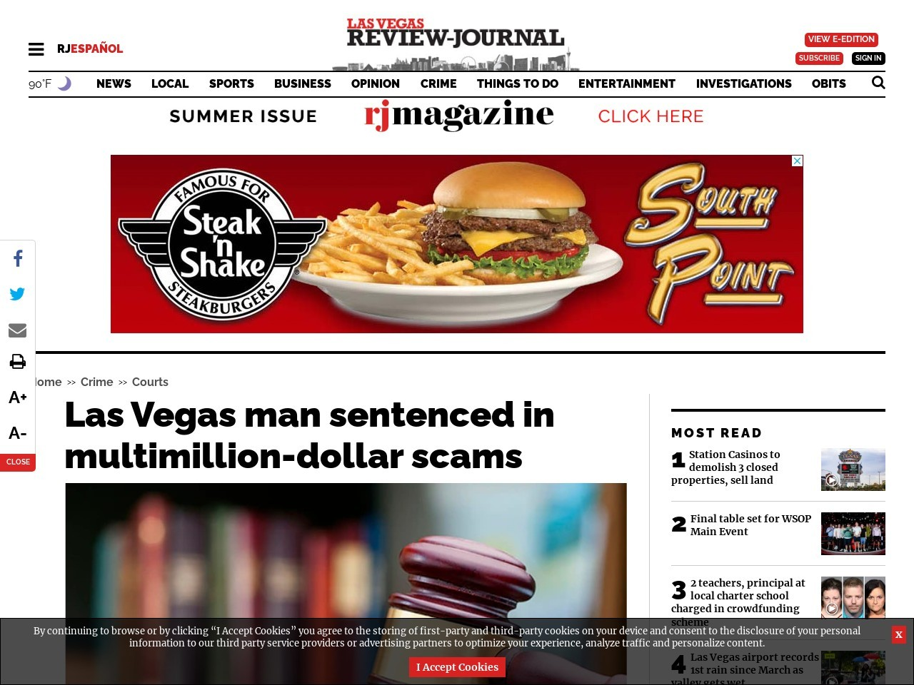 Las Vegas man sentenced in multimillion-dollar scams