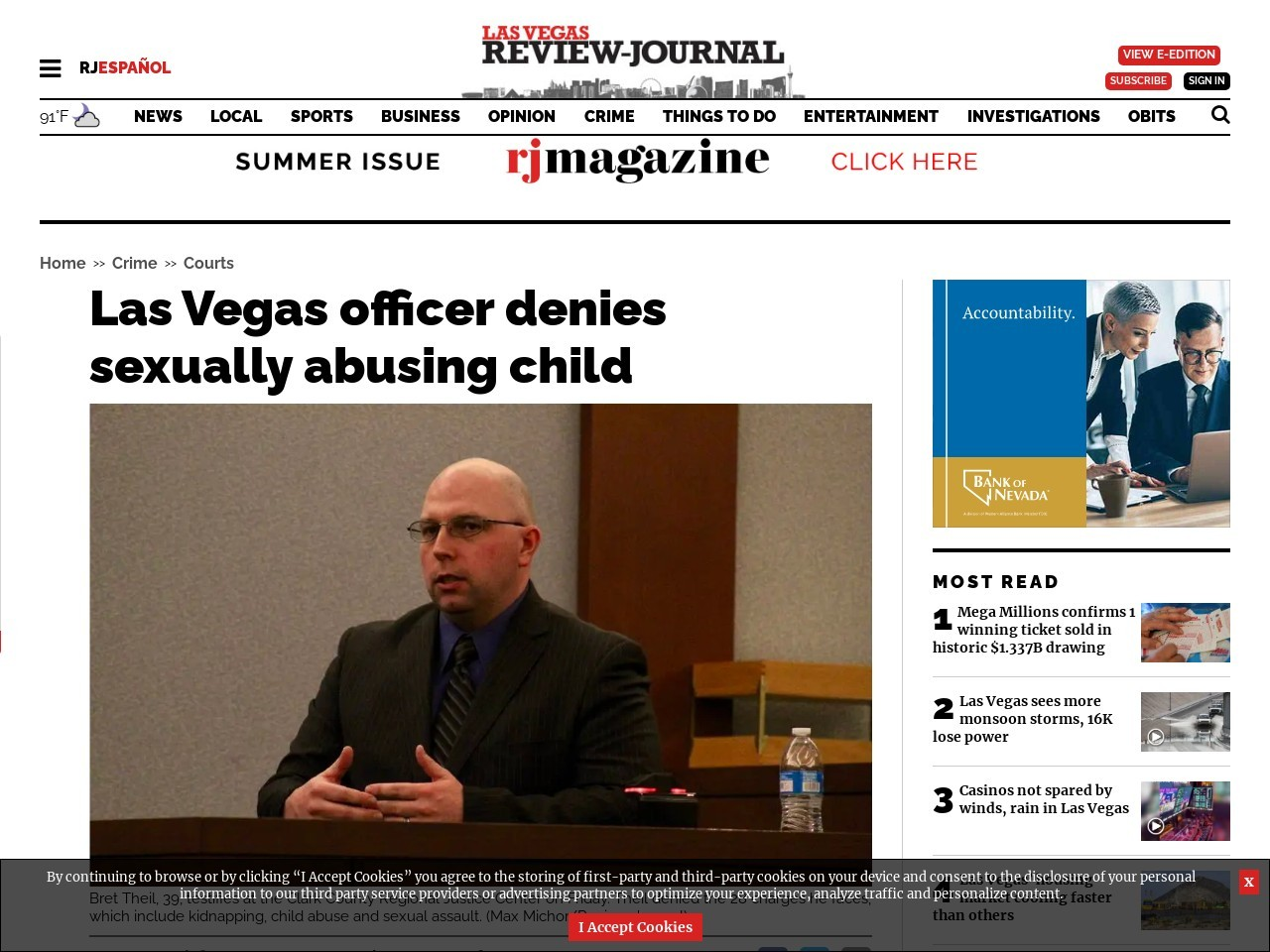 Las Vegas officer denies sexually abusing child