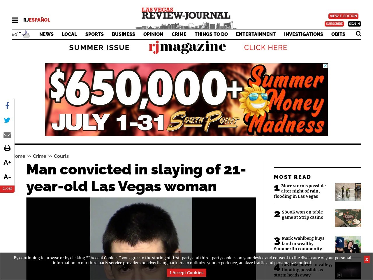 Man convicted in slaying of 21-year-old Las Vegas woman
