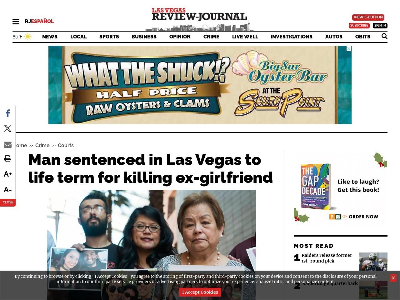 Man sentenced in Las Vegas to life term for killing ex-girlfriend