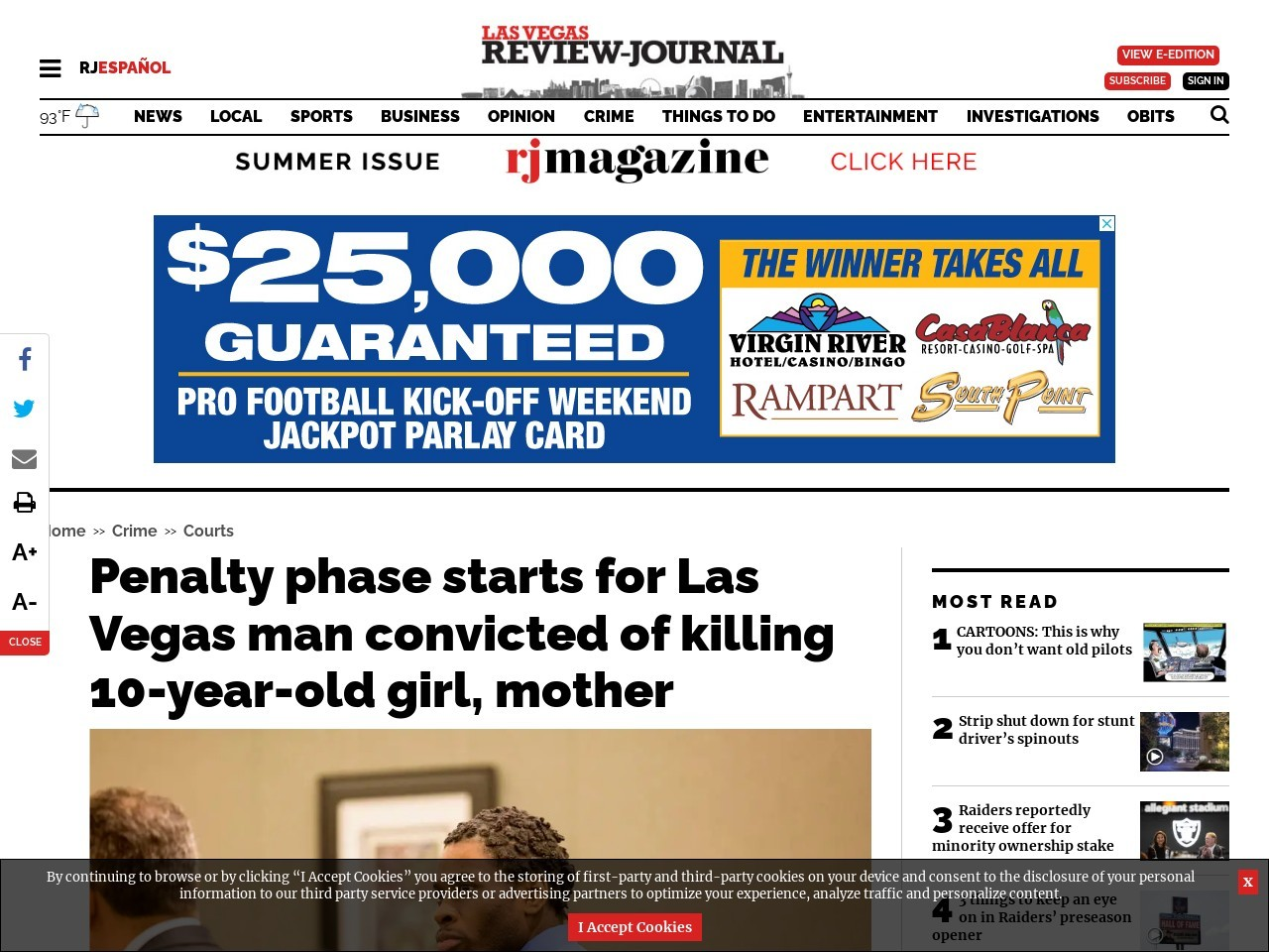 Penalty phase starts for Las Vegas man convicted of killing 10-year-old girl, mother