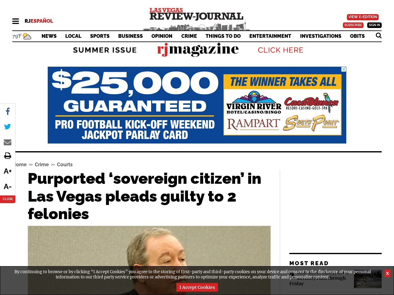 Purported 'sovereign citizen' in Las Vegas pleads guilty to 2 felonies