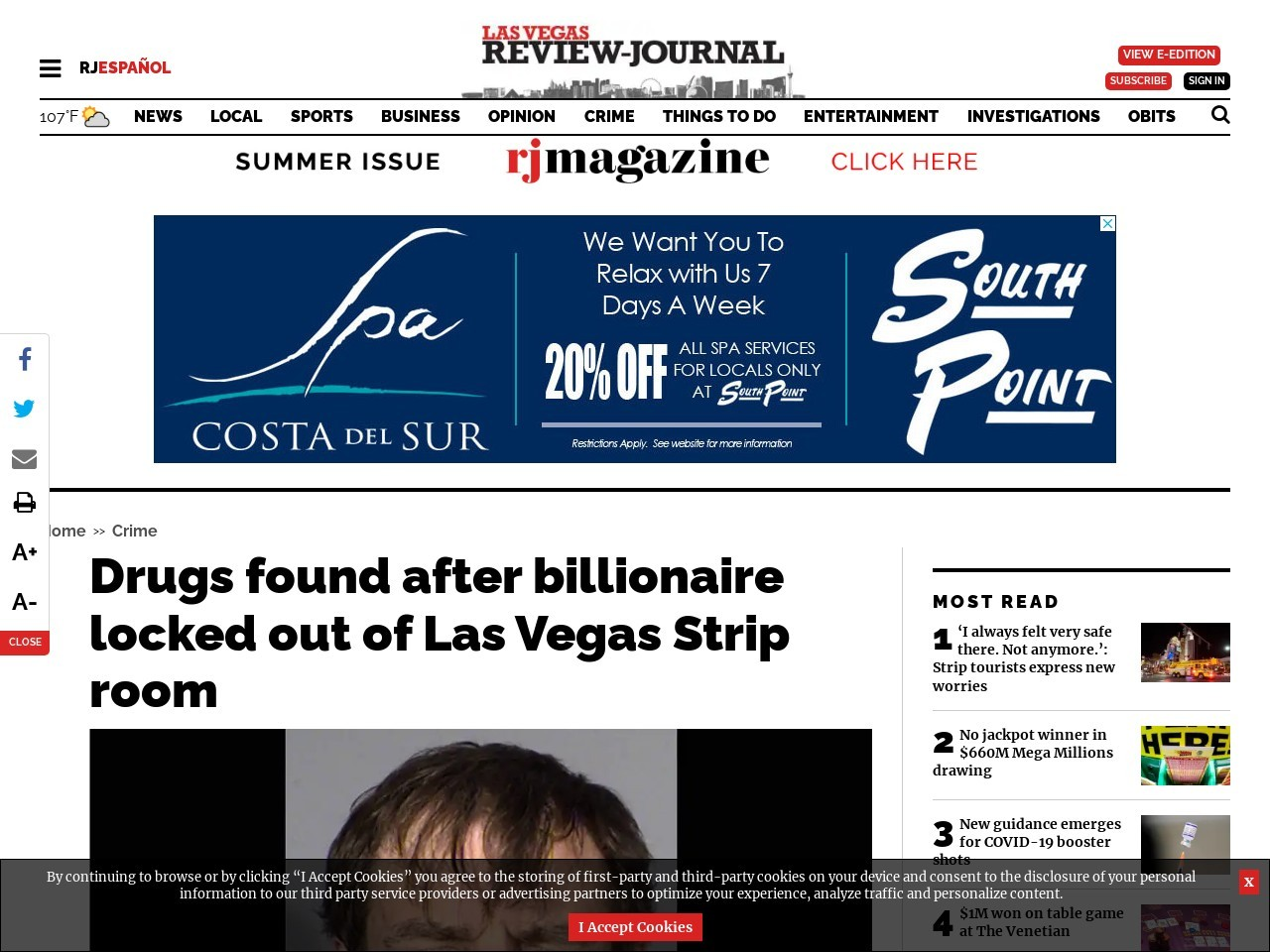 Drugs found after billionaire locked out of Las Vegas Strip room
