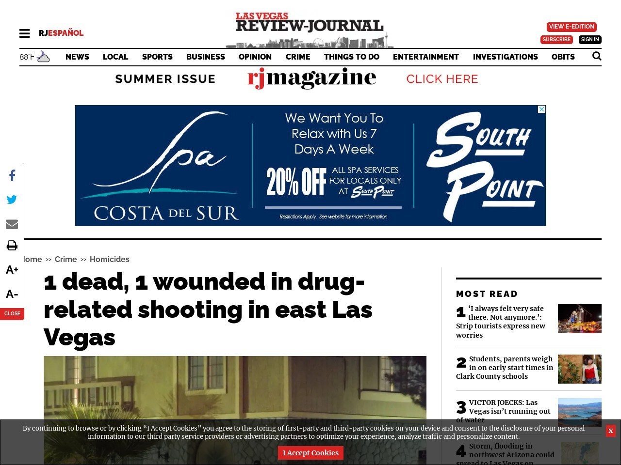 1 dead, 1 wounded in drug-related shooting in east Las Vegas