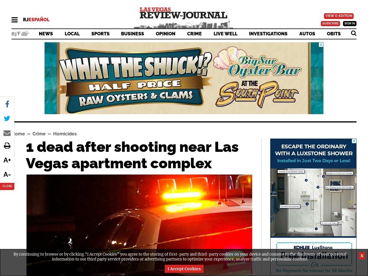 1 dead after shooting near Las Vegas apartment complex