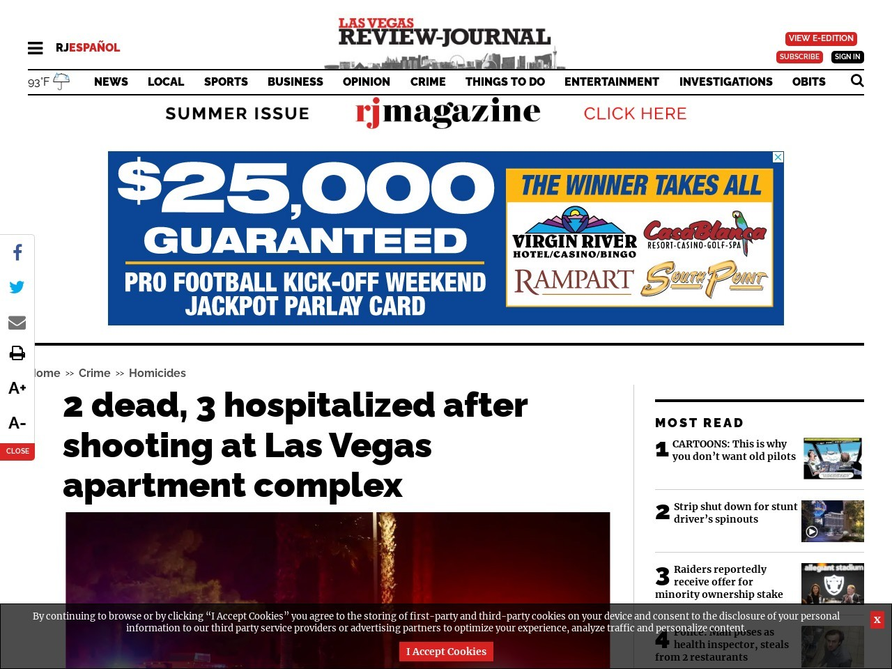 2 dead, 3 hospitalized after shooting at Las Vegas apartment complex