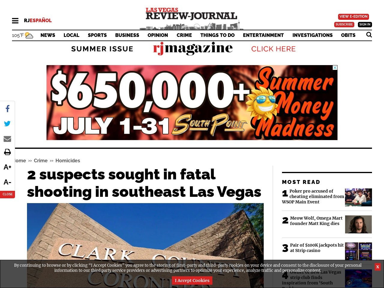 2 suspects sought in fatal shooting in southeast Las Vegas